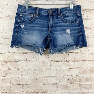 American Eagle stretch distressed jean shorts